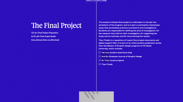 Then Finally: Final Projects